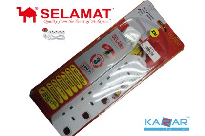 Selamat 2M 4 Gang Extension 13A plug design for Euro 2 Pin MA-1184